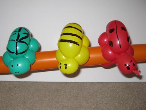 Turtle, bee and ladybug balloon bracelets